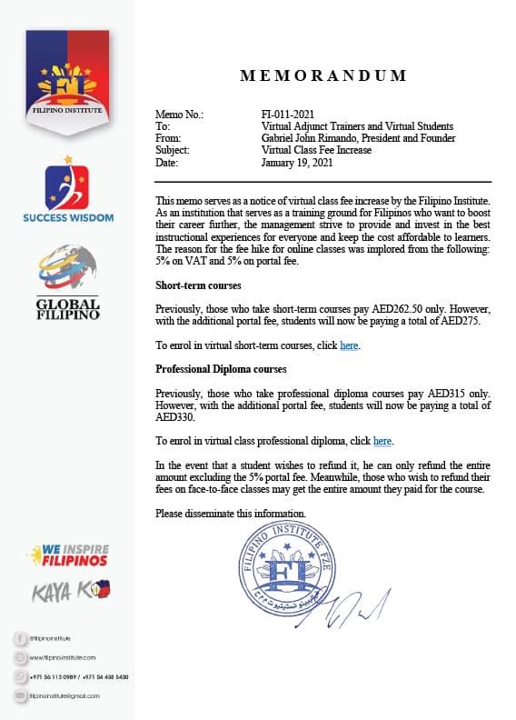 Subject : Optional Virtual Classes for OngoingDate : January 21, 2021Memo No. : FI-012-2021