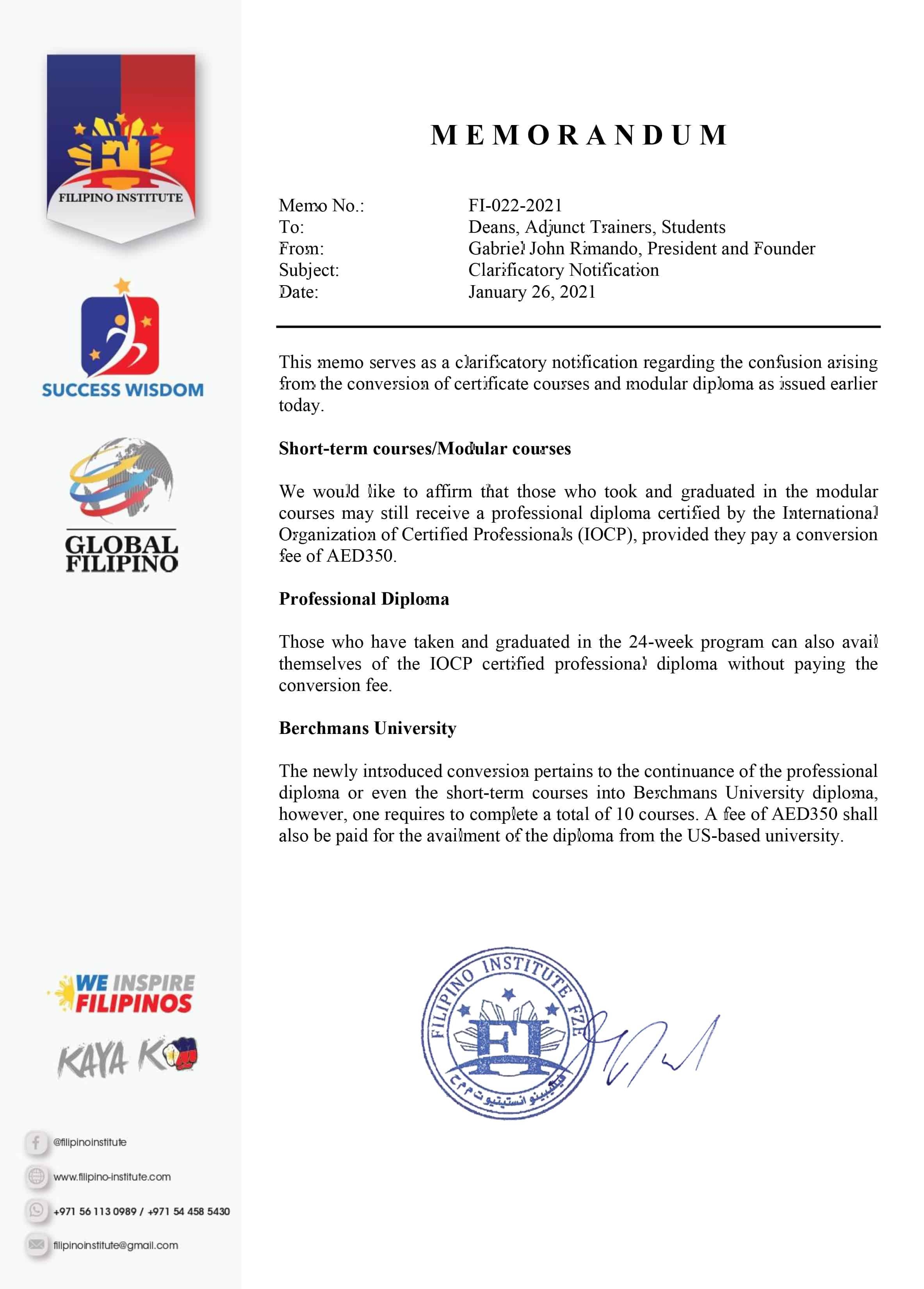 Subject : Clarificatory NotificationDate : January 26, 2021 Memo No. : FI-022-2021