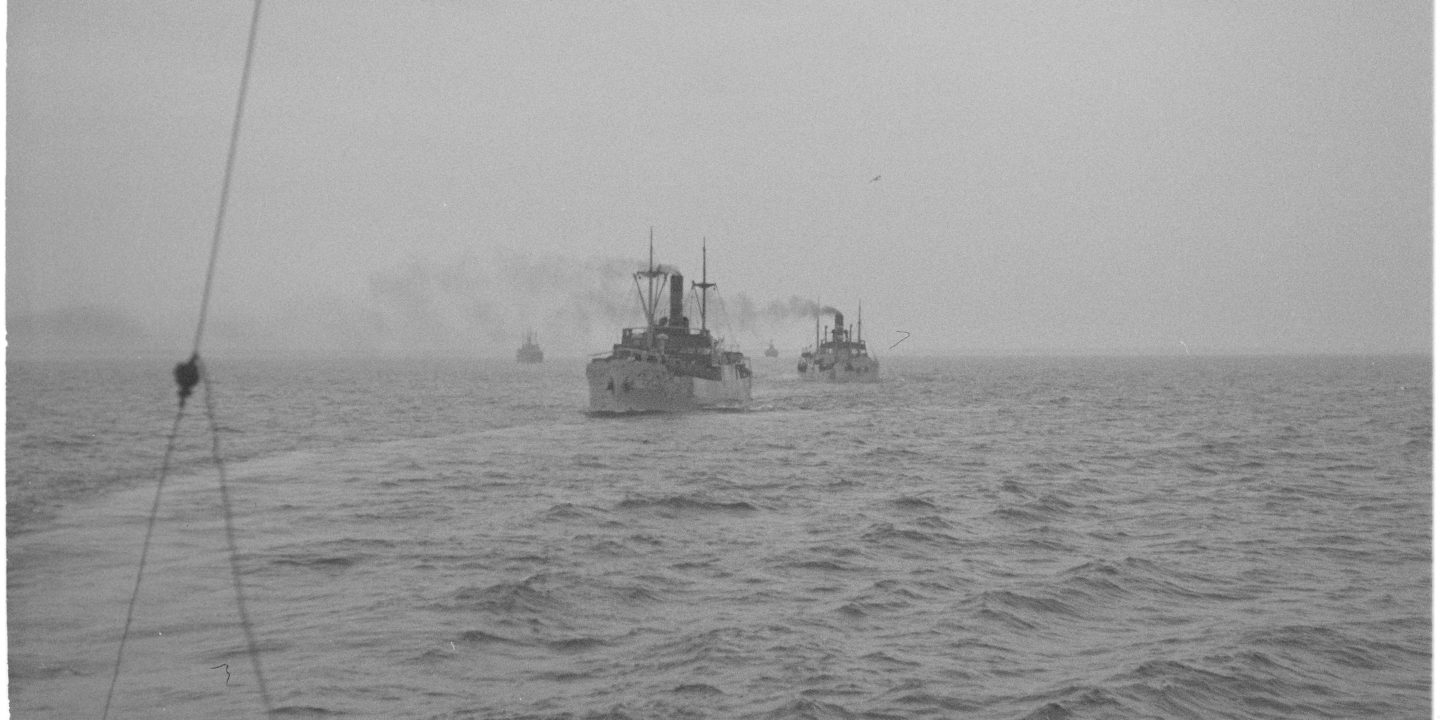 A convoy of merchant vessels heading towards Finland during the Continuation War