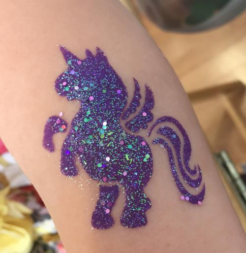Unicorn glitter stencil tattoo