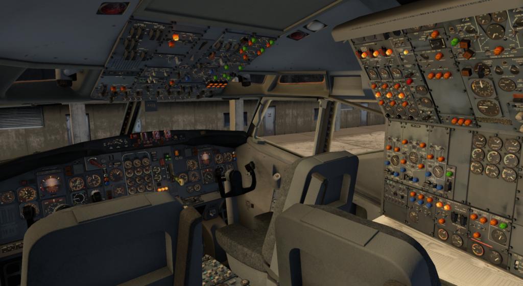 En cockpitvy av 727-200