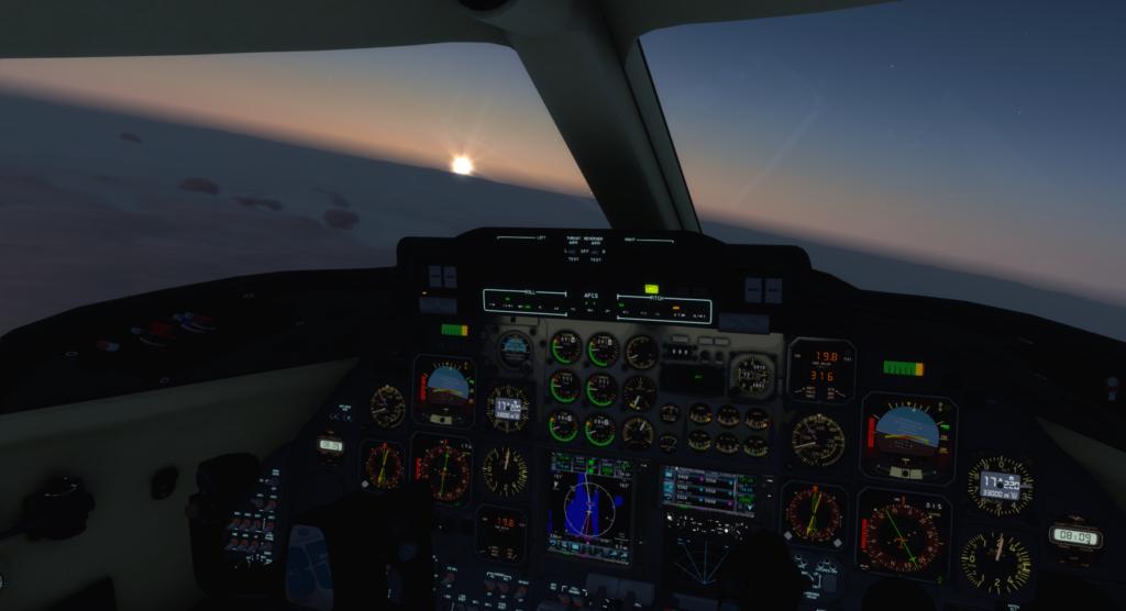 Solnedgång bild från en Mediflight Learjet 35a cockpit