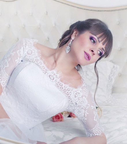 Bride lying on bed