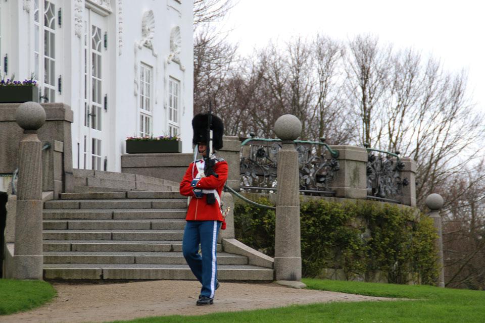 Королевский гвардеец около дворца