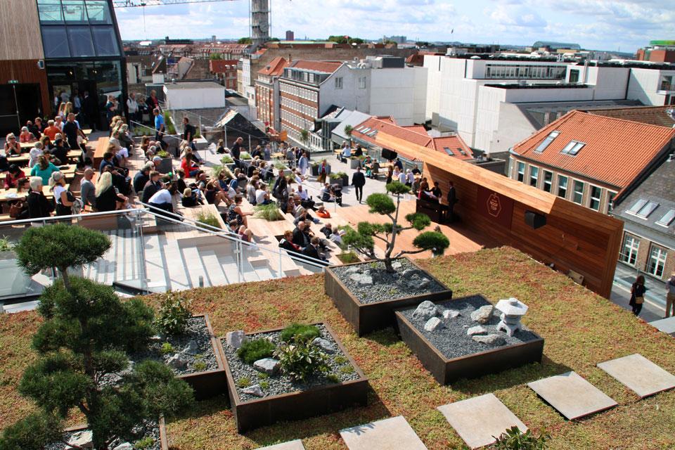 Сад в японском стиле в городском парке на крыше