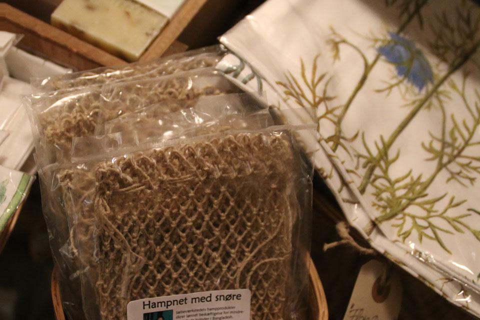 Мочалка из коноляных волокон, внутрь которой помещается мыло