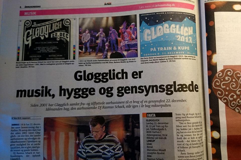 Реклама рождественской вечеринки Глогглих (Gløgglich)