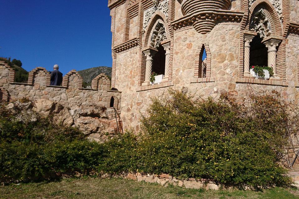 Цветущие кусты лантана возле Замка Коломарес