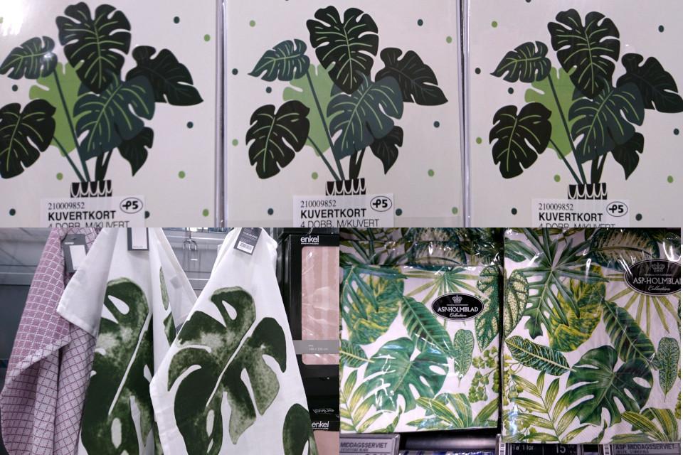 Открытки, салфетки и полотенца с узорами из листьев монстеры деликатесной