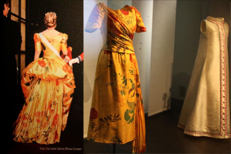 Экспозиция на выставке, показывающая как менялся дизайн платья