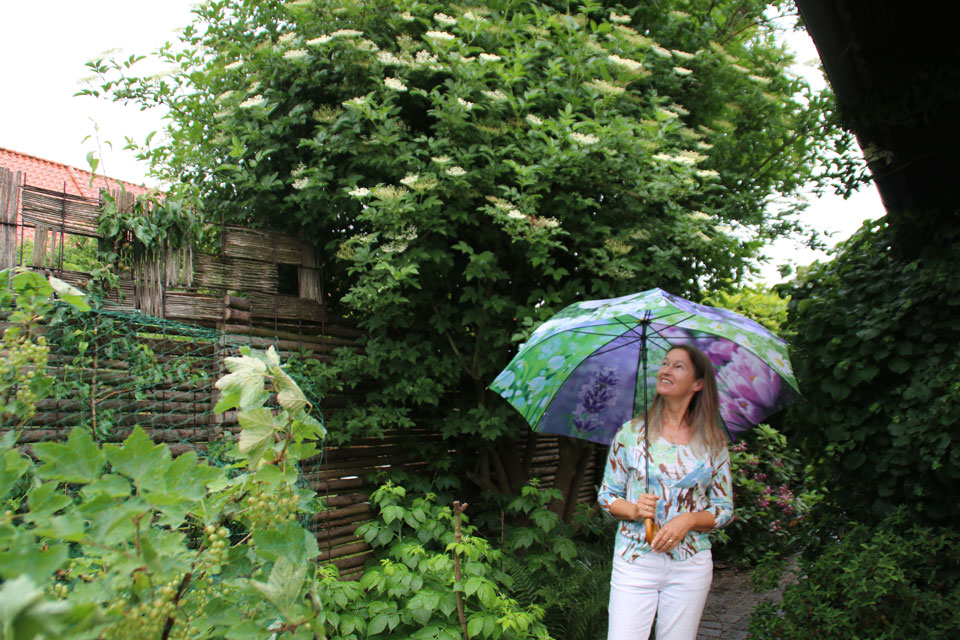 Датская писательница Патрисия Катарина Йорк в своем саду