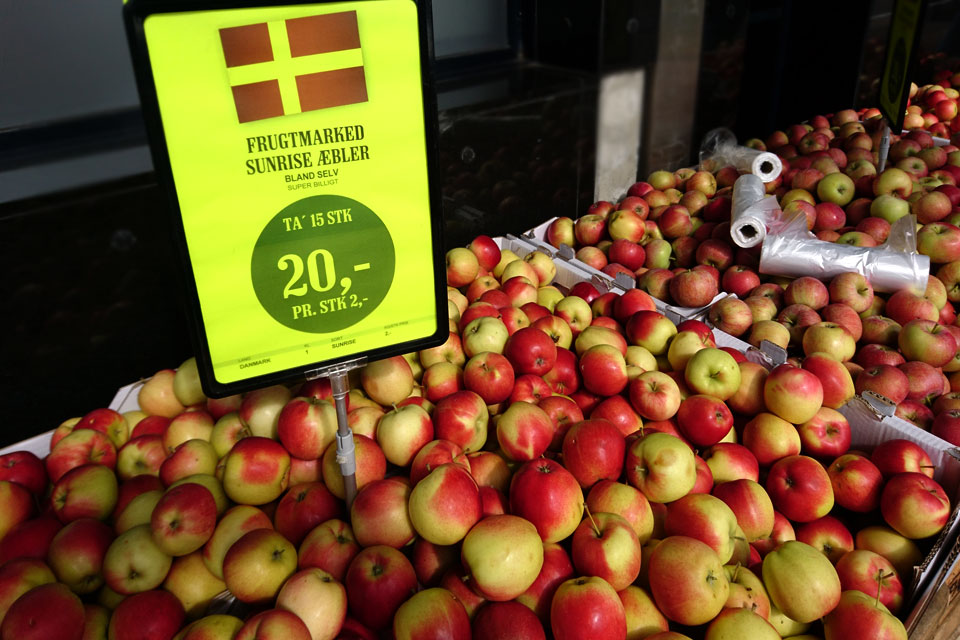 Сорта яблок в магазинах Дании: Санрайз - Sunrise