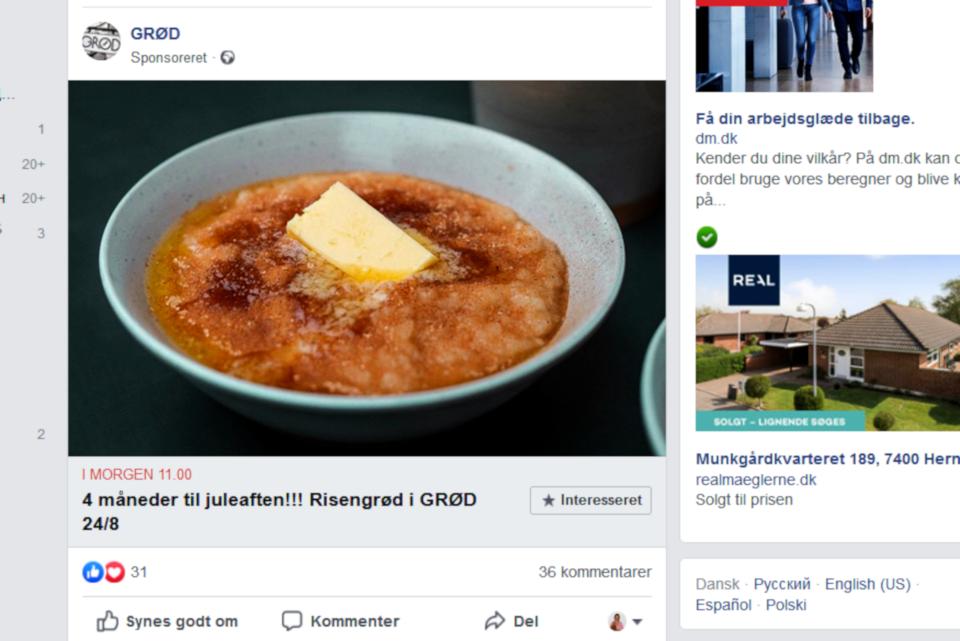 Реклама рисовой каши с корицей Орхусского кафетерия GRØD