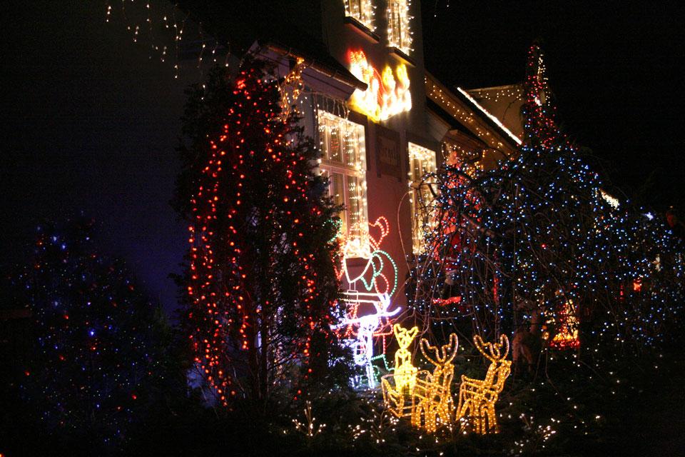 В палисаднике этого дома остановился Санта Клаус в упряжке с оленями