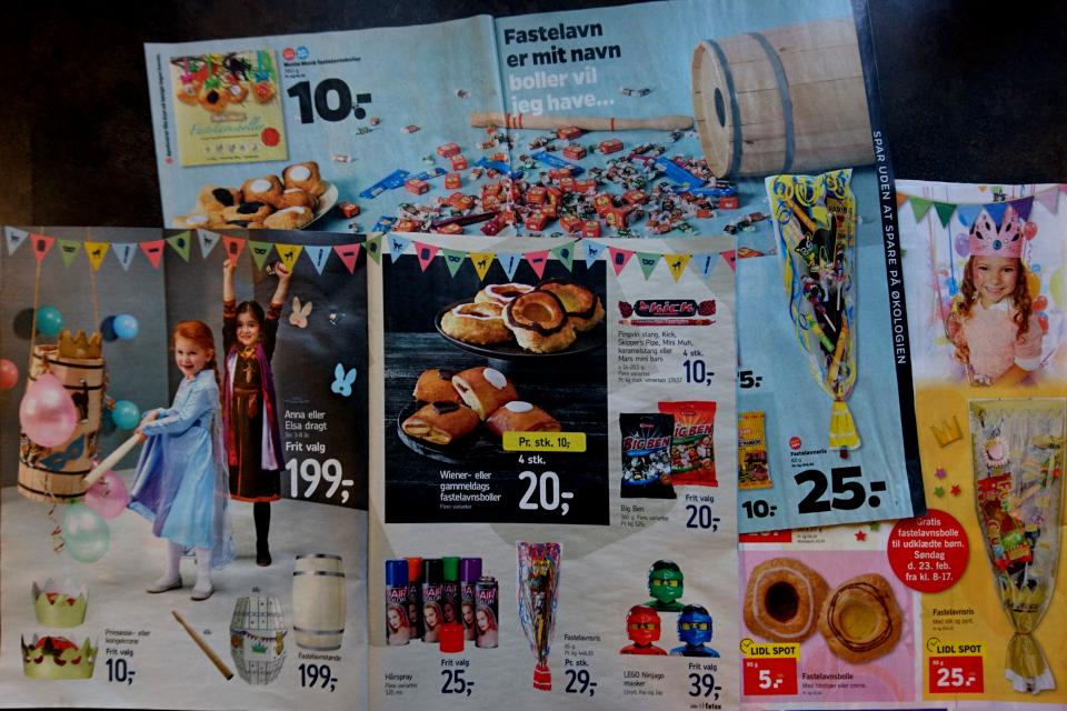 Реклама супермаркетов с товарами и масляничными булочками фастелавнболле