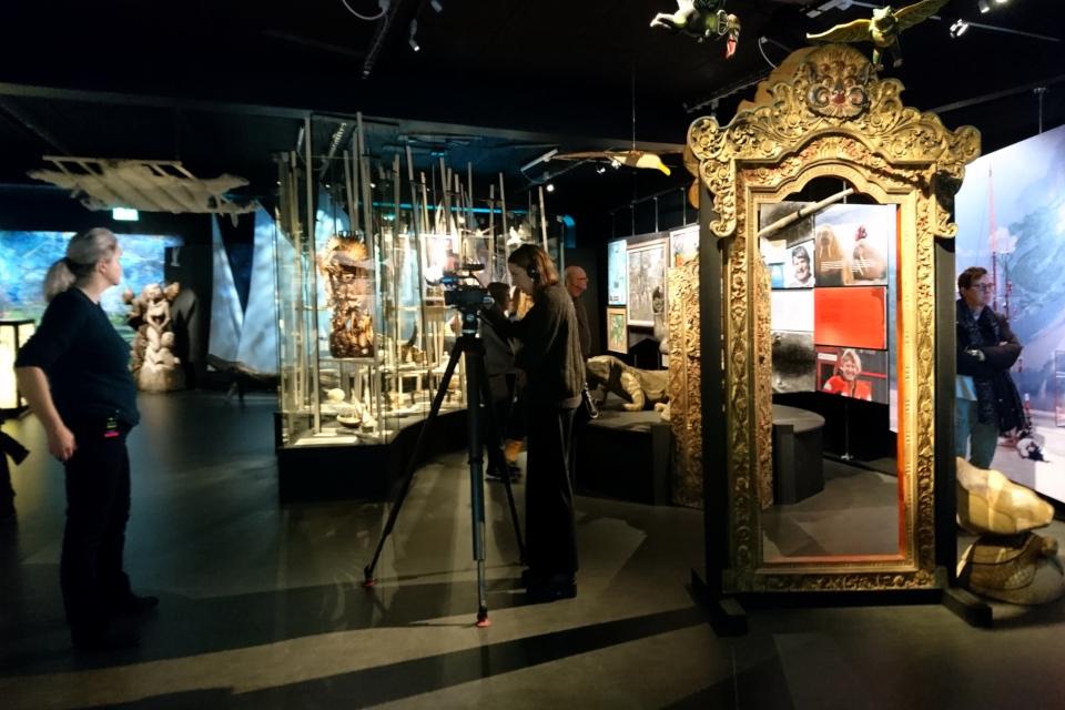 Журналисты датского телевидения делают репортаж с выставки