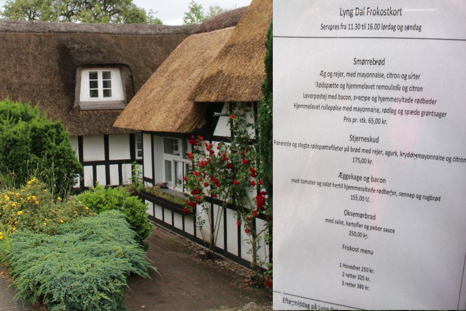 Меню старой гостиницы Lyng Kro предлагает датские бутереброды-смёрребрёды
