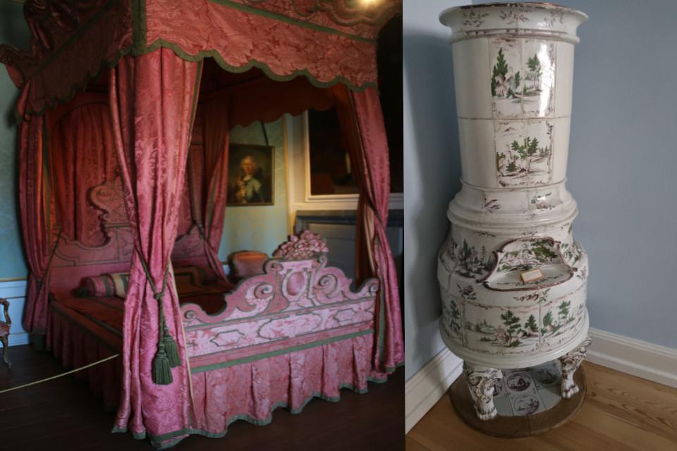 кровать с балдахином изразцовая печь конец 1700 х годов
