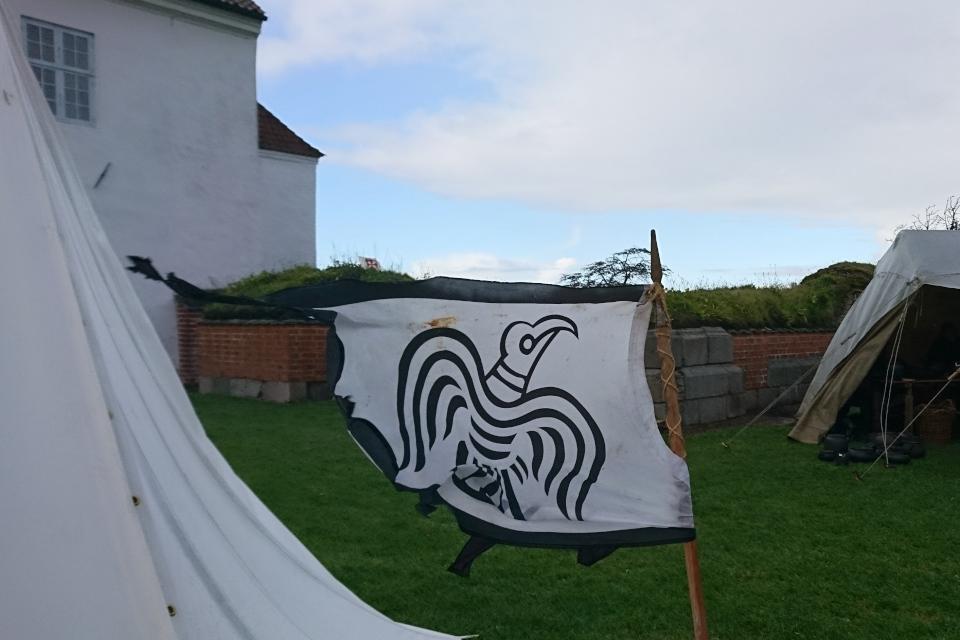 Треугольный флаг Danibrоk с вороном белого цвета