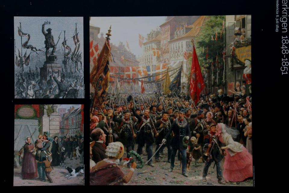 картина Отте Брахе, изображающая улицы в Копенгагене, украшенные флагами