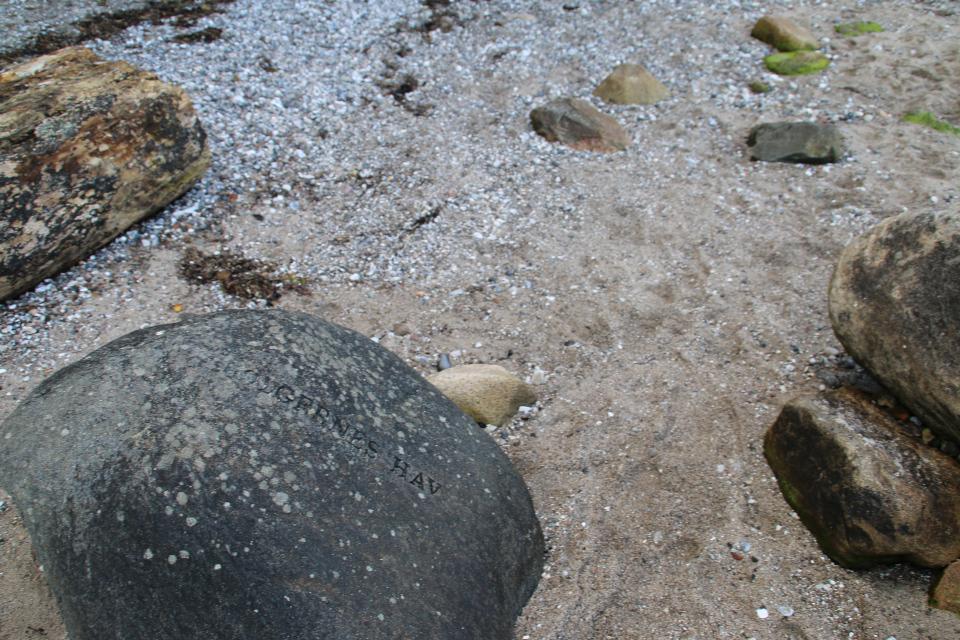 """Надпись """"Море Спокойствия"""" (дат. Klarhedens Hav) на """"лунном камне"""""""