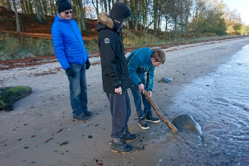 Камень, с надписью, наполовину скрытую в песке Море Влажности (дат. Fugtighedernes Hav)
