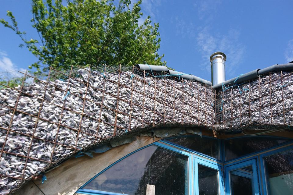 Крыша дома из ракушек мидий