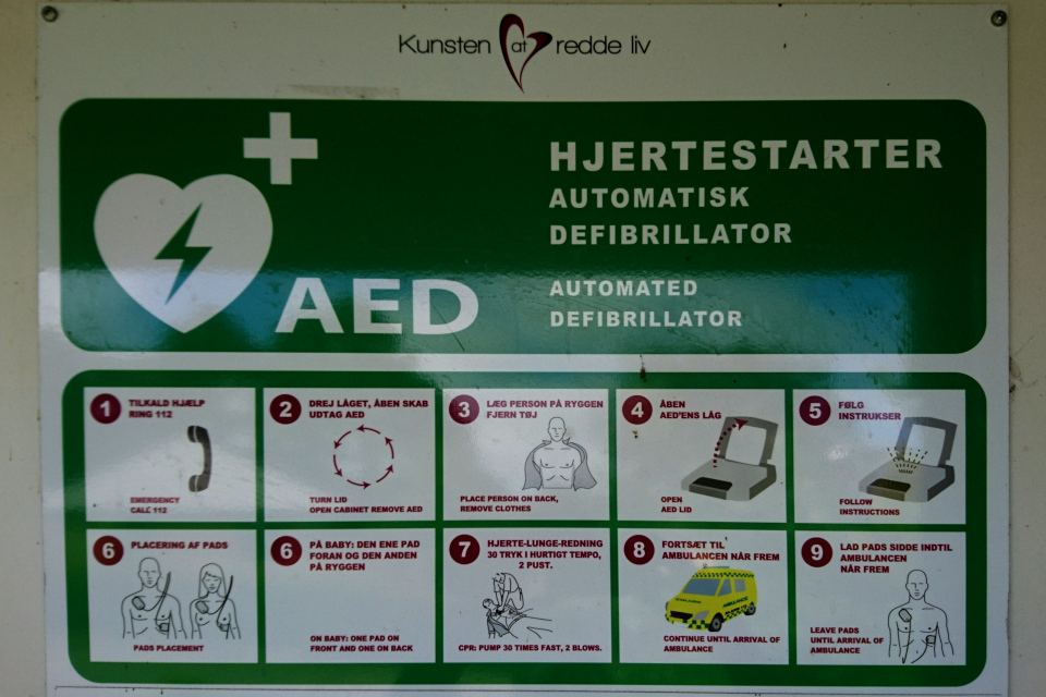Алгоритм применения автоматического наружного дефибриллятора (АНД), Дания