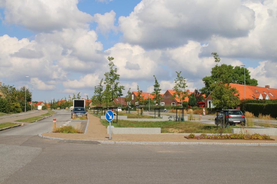 Аллея для ливней с местами для парковки машин,Risvangs Allé, г. Орхус / Aarhus, Дания