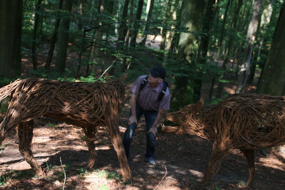 Зубастые мифические волки из ивовых прутьев