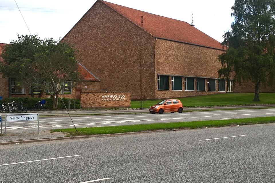 Зеленый газон на клумбе посреди дороги возле Орхусского университета, Дания