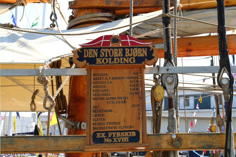 Табличка с некоторой информацией на корабле Den Store Bjørn