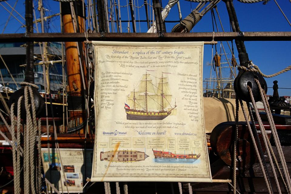 Информационный плакат с иллюстрацией фрегата Штандарт с разных сторон
