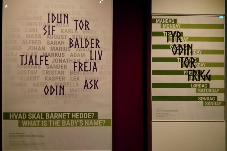 Плакат с современными именами и днями недели, соответствующим языческим богам.