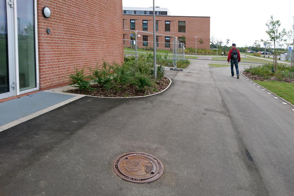 Плавные линии на клумбах и канализационном люке, Университетская больница г. Орхуса