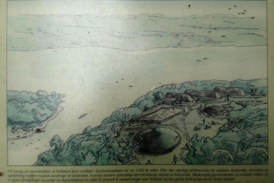 Иллюстрация поселения и дольмена, как они могли выглядеть в каменном веке
