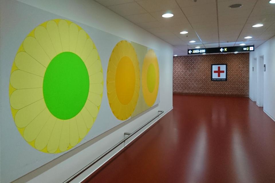 Картина с символическими подсолнухами в оформлении Орхусской больницы, Дания
