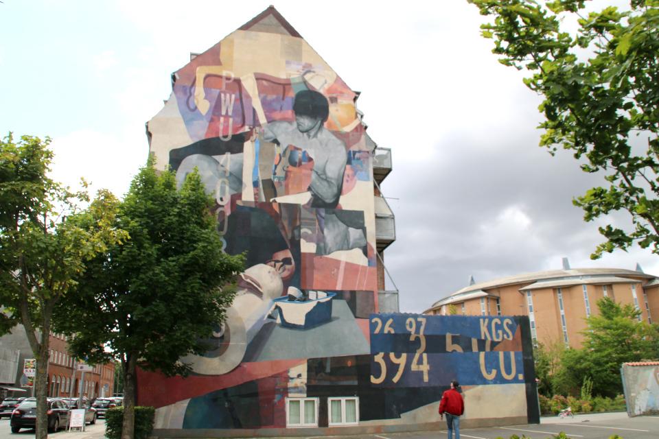 Фасад здания с картиной Марата Данильян (Морик) в г. Хорсенс , Дания