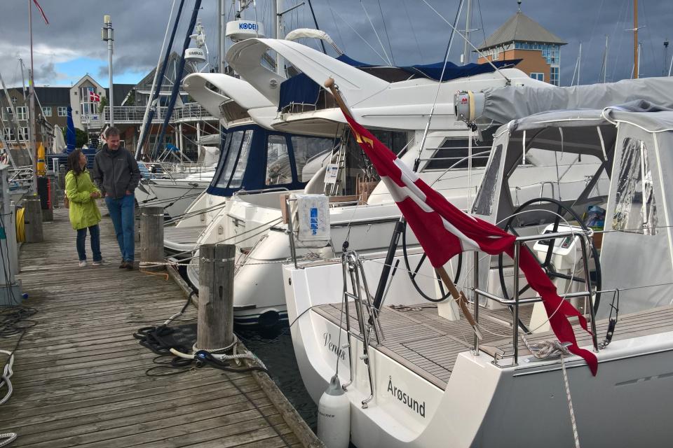 Парусные лодки в порту Марселисборг. Фото 19 сент. 2019,Tangkrogen, Орхус / Aarhus, Дания