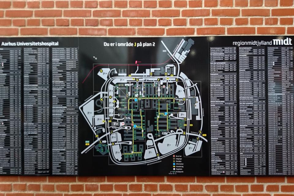 Карта с планом отделений в районе J второго этажа. университетской больницы г. Орхус