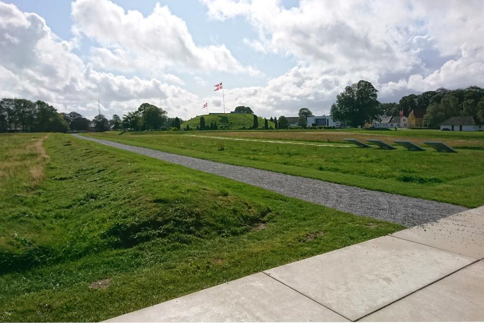 Место в частоколе, где раньше находились ворота и дорога.