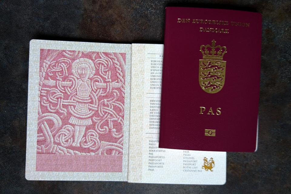 Заграничный паспорт Дании с мотивом большого рунного камня Харальда