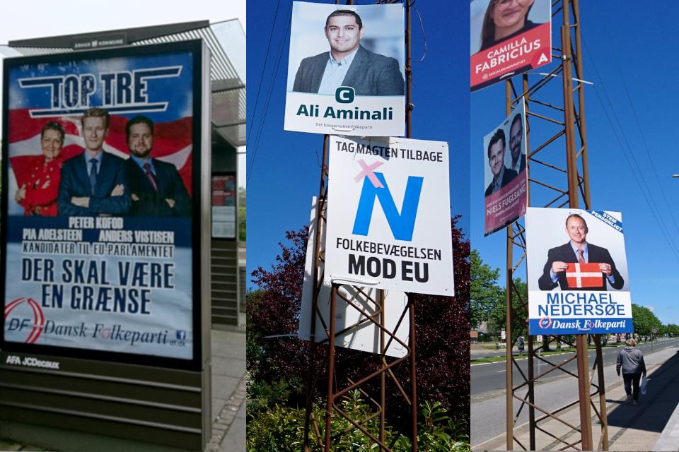 Предвыборные плакаты в парламент Евросоюза и Фолькетинг