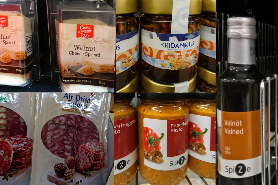 Грецкий орех в Дании в продуктах питания. Фото сделаны в датских супермаркетах