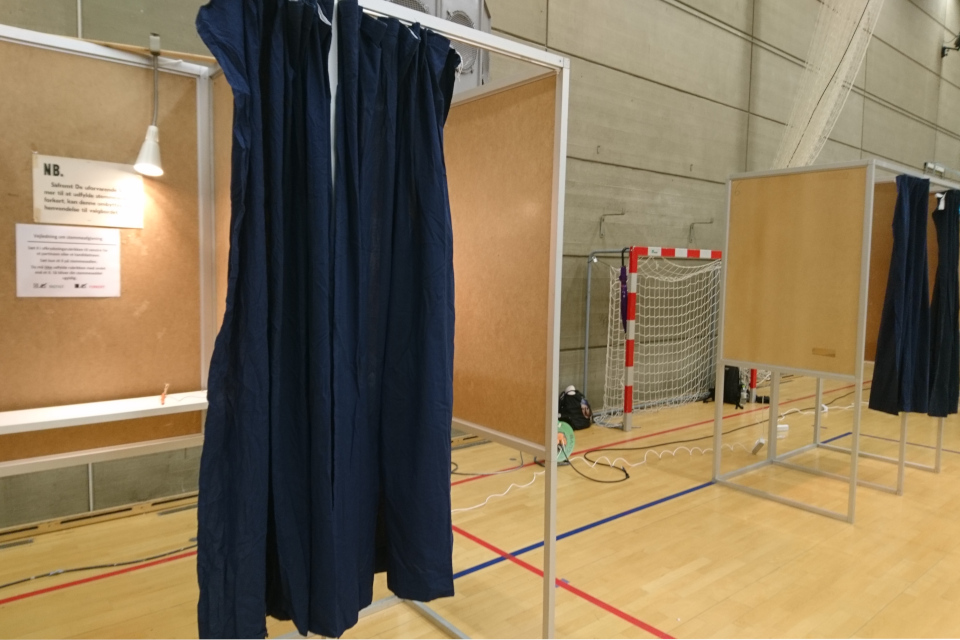 Кабина для голосования. Фото 26 мая 2019, г. Холме / Holme, Дания