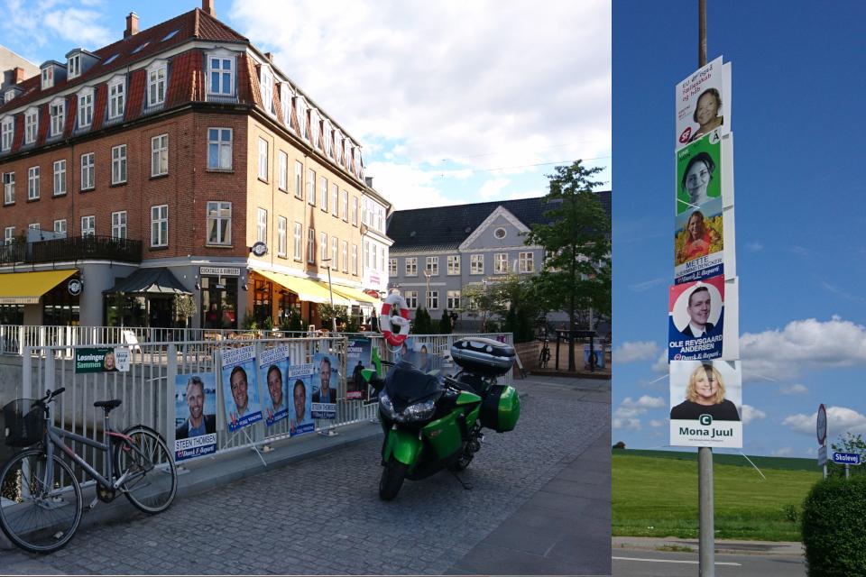 Предвыборные плакаты с портретами кандидатов в Фолькетинг в городах, Дания