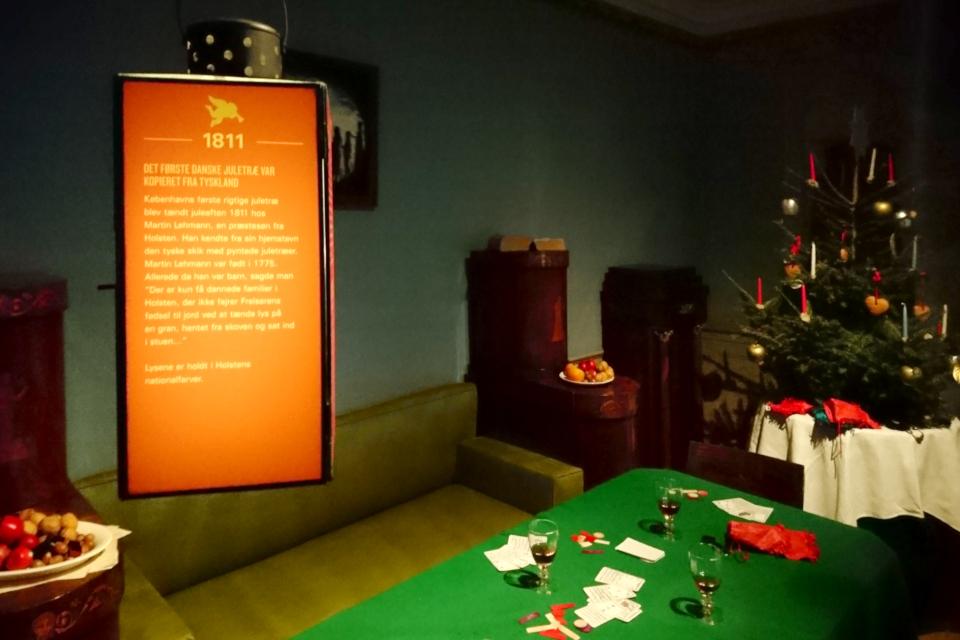 Так мог выглядеть зал в Копенгагене, украшенный под рождество елкой,
