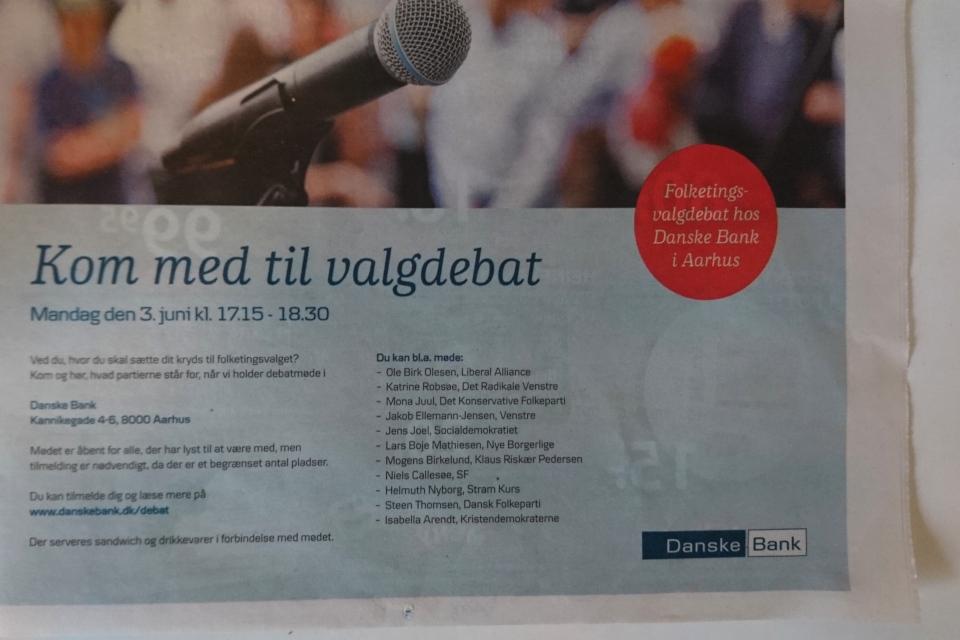 Приглашение на встречу с кандидатами в парламент Фолькетинг (Folketing)