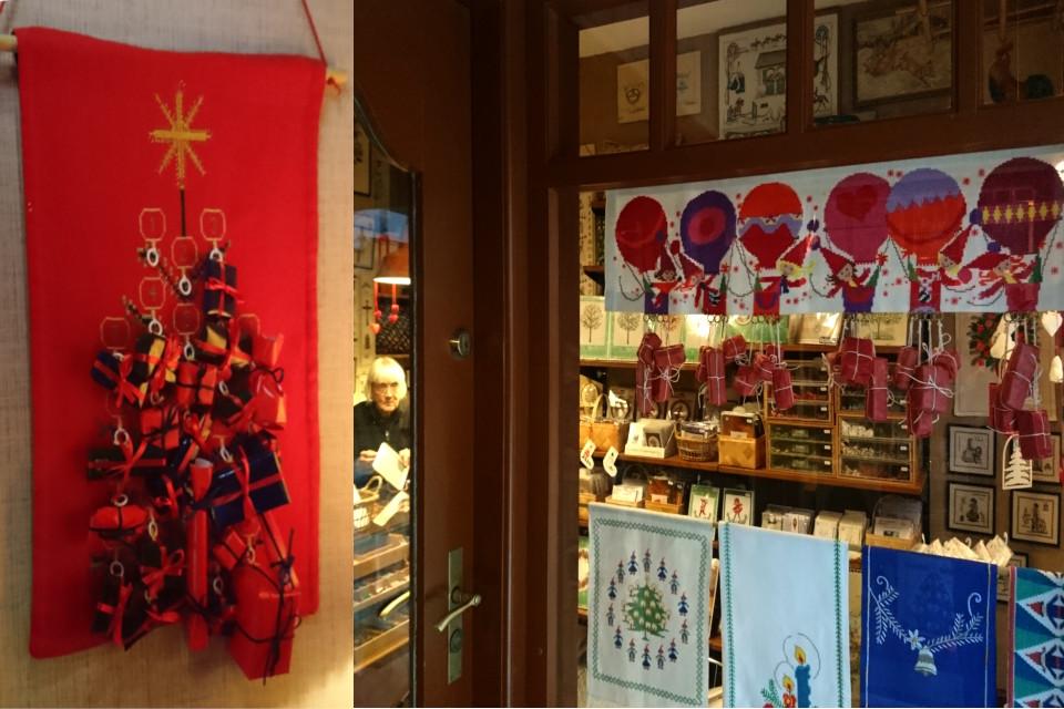 Самодельные календари с подарками в магазине рукоделия, Дания