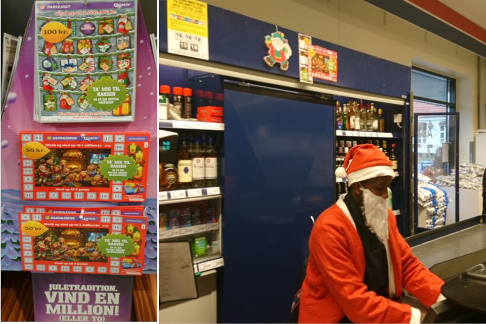Касса супермаркета со скретч-календарями, Дания